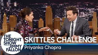 Priyanka Chopra and Jimmy Fallon Compete in a Skittles Challenge - dooclip.me