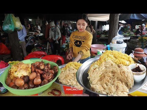 Sophy Food Market Morning Scenes & Eating Fried Chicken Rice @ Battambang, Khmer Food