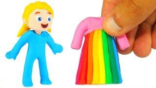 PRINCESS NEW RAINBOW DRESS ❤ PLAY DOH CARTOONS FOR KIDS