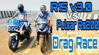 R15 v3.0 vs Pulsar Rs 200 Drag race | Top End | Highway Battle