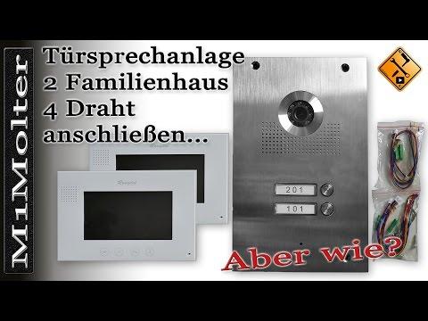 Video Türsprechanlage 2 Familienhaus 4 Draht anschließen - Rongtel Villa Intercom System -M1Molter
