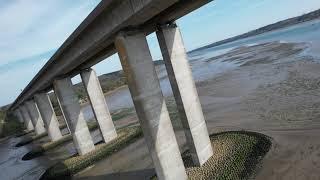 DJI Air 2S - Flying under the bridge as a FPV drone (Orwell Bridge, Suffolk, UK)