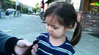 Impromptu Haircut #2 - Dad cuts Daughter's (2.5yrs) Pig Tails.