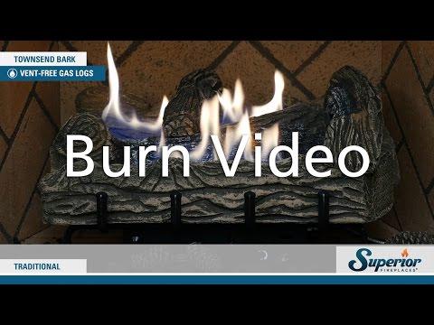 Superior Fireplaces Townsend Bark Ventless Gas Logs Burn Video