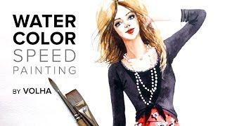 Смотреть онлайн Учимся рисовать красивую девушку акварелью поэтапно