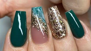 Emerald Green & Gold - Acrylic Nail Tutorial