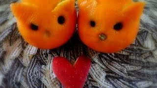 Easy Fruit Carving - Orange Carved Cats