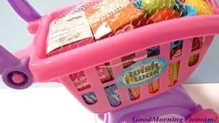 Đồ Chơi Xe Đẩy Siêu Thị - Đồ Chơi Bé Đi Siêu Thị (Bí Đỏ) Gocery Cart Toys