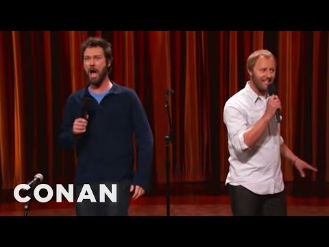 Conan's team accidentally booked 2 comedians for the same slot, so they went at the same time.
