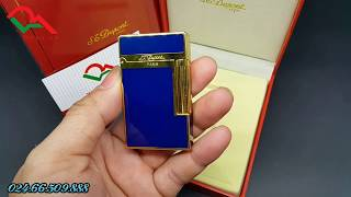 Bật lửa Dupont sơn mài D37 men xanh viền bạc - vàng | Deva.vn | Giá 650.000 Đ