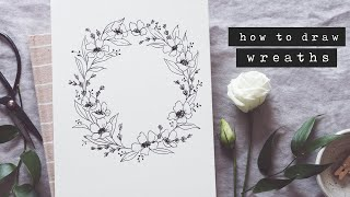 How To Draw A Floral Wreath