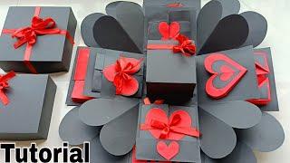 Valentine Special Explosion Box Tutorial||Black &Red Valentine Explosion Box Full Tutorial||