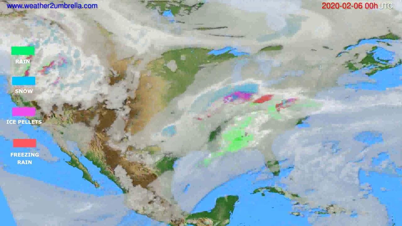 Precipitation forecast USA & Canada // modelrun: 00h UTC 2020-02-05