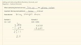 1.1f Adding and Subtracting Whole Numbers, Decimals, and Negatives – Subtract Decimals