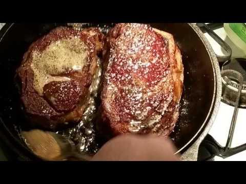 Beef Rib Eye Steaks seared in a Lodge 10 1/4