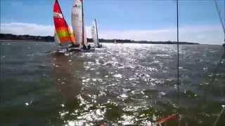 preview picture of video 'Régate championnat de ligue catamaran du 23 mars 2014'
