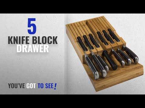 Top 10 Knife Block Drawer [2018]: In-Drawer Bamboo Knife Block Holds 12 Knives (Not Included)
