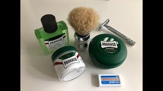 Klassische Rasur - Proraso green und Personna