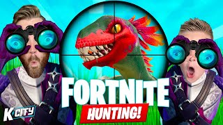 Hunting Dinosaurs in FORTNITE Family Challenge! K-City Gaming
