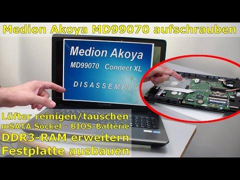 Medion Akoya MD99070 Laptop öffnen - Notebook HDD SSD Lüfter Festplatte CMOS Akku - Windows 10