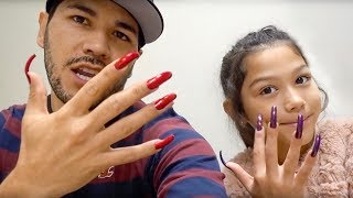 Wearing Super Long acrylic Nails For A Day **DAD vs. DAUGHTER** | Familia Diamond