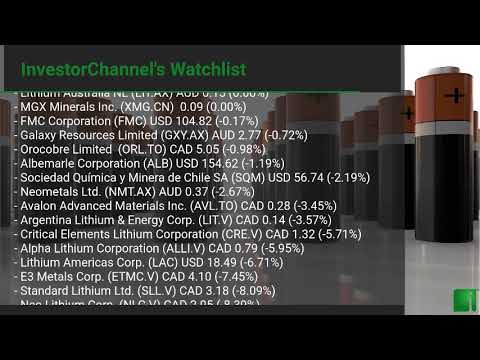 InvestorChannel's Lithium Watchlist Update for Tuesday, Fe ... Thumbnail
