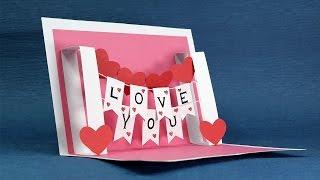 DIY Valentine Card - Handmade I Love You Pop Up Card