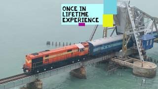 Ram Setu Bridge ORIGINAL VIDEO -  Rameswaram Exp CROSSING RAM SETU | New Rameshwaram Train Bridge