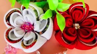 【100均材料だけで つまみ細工】kanzashi Flower  成人式卒業式 髪飾り作り方