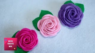 Felt Rose - DIY : How To Make Easy Felt Rose  / Spring Crafts.