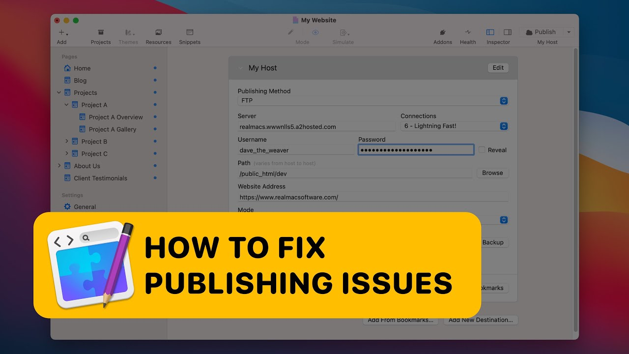 How to fix FTP Publishing Problems in RapidWeaver