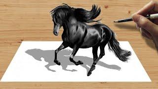 3D Pencil Drawing: Black Friesian Horse  - Speed Draw | Jasmina Susak