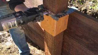 How to cut 6X6 fence post, done easy with a simple jig fixture.