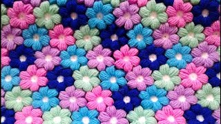 How To Crochet Easy Puff Flower Blanket Afghan For Beginners By #marifu6a