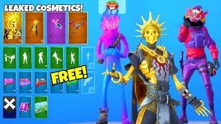 *NEW* Skins & Emotes..! (FREE Rewards, Gold Skeleton, Dragon Skin LEAKED) Fortnite Battle Royale