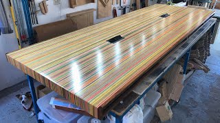 10FT LONG CONFERENCE TABLE MADE OUT OF SKATEBOARDS!