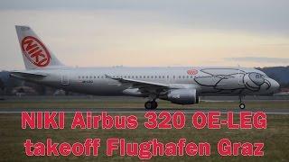 preview picture of video 'NIKI HG3064 A320 takeoff Flughafen Graz | OE-LEG'