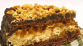 """Смотреть онлайн Торт """"Сникерс"""", рецепт приготовления вкусного торта"""