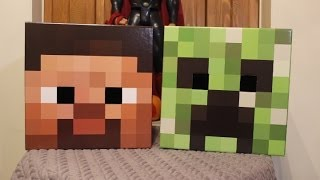 Steve and Creeper Minecraft Cardboard Head Review (Adult Toys)