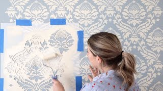 How To Stencil An Expensive Looking Accent Wall With A Damask Stencil