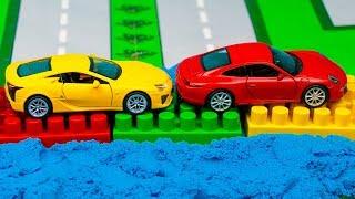 Мультфильм Машинки строят мост Грузовик, Полиция, конструктор 297 Серия Мир Машинок Видео для детей
