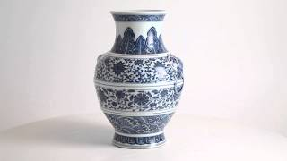 Blue And White Ming-Style Hu Vase, Qianlong Mark And Period (1736-1795)