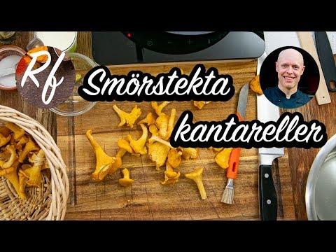 Smörstekta kantareller eller hur du tar hand om, rensar och steker kantareller på enkelt vis så de blir goda i lite smör eller olja, salt och peppar.>