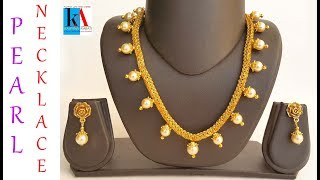 diy pearl necklace set at home / beautiful designer pearl necklace set with earrings making video