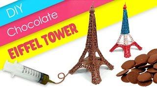 DIY Chocolate Eiffel Tower ! Melting Milk Chocolate Eiffel   MonsterKids
