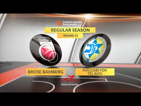 EuroLeague Highlights RS Round 21: Brose Bamberg 90-75 Maccabi FOX Tel Aviv