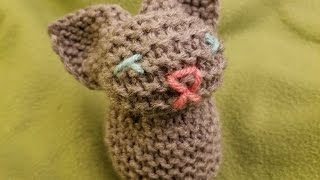 Easy Knitted Bunny (out of a square!)