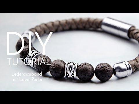 Lederarmband mit Lava-Perlen - DIY Anleitung - Perlenladen Online