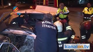 Konya'da ağaca çarpan araçta sıkışan sürücüyü itfaiye kurtardı