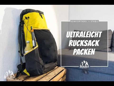 Ultraleicht Rucksack Packen - Struktur und Komfort auch ohne Tragesystem